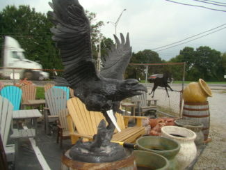 cast aluminum eagle with fish